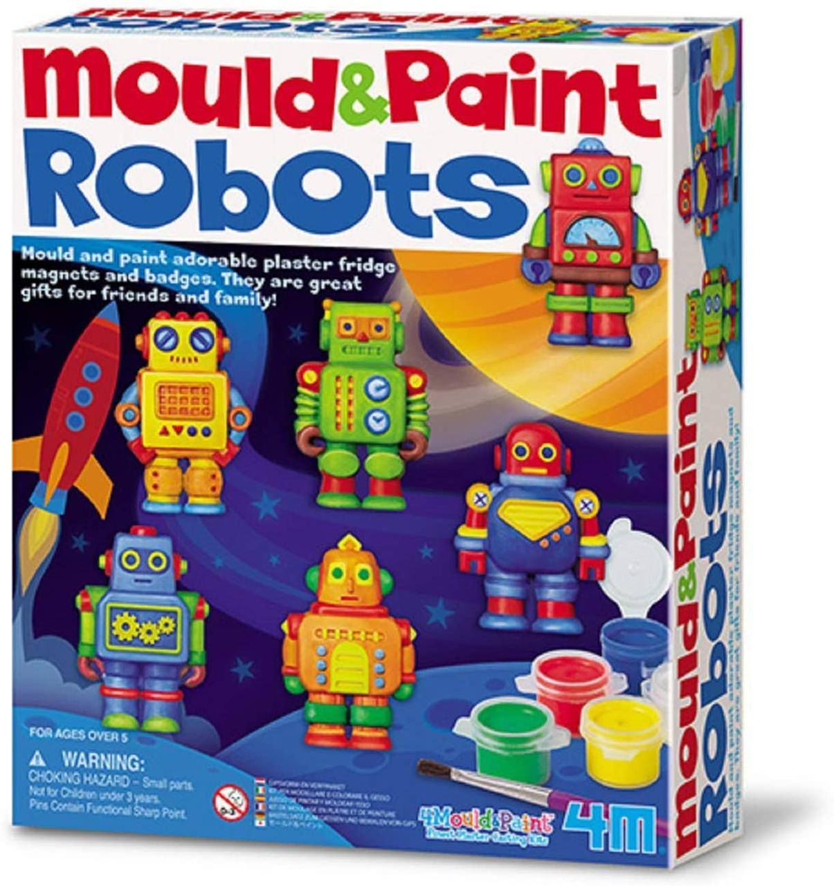 Набор для творчества Магниты из гипса Роботы 4M 00-04653