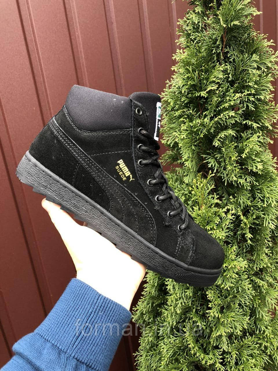 Мужские замшевые кроссовки Puma Suede чёрные на чёрной подошве