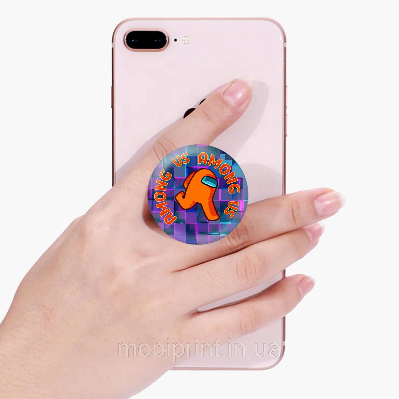 Попсокет (Popsockets) держатель для смартфона Амонг Ас Оранжевый (Among Us Orange)  (8754-2408)