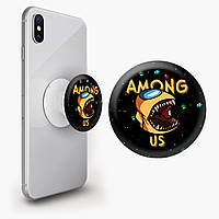 Попсокет (Popsockets) держатель для смартфона Амонг Ас Желтый (Among Us Yellow)  (8754-2409), фото 1