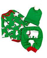 Новогодний костюм с медведями, футер плотный, 62 - 86 см