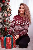 Женский свитер новогодний с оленями бордовый, фото 1