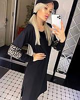 Жіноче плаття з дайвінгу з леопардовими вставками, фото 1