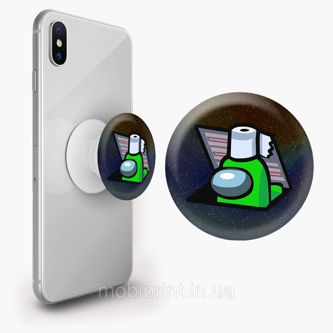 Попсокет (Popsockets) держатель для смартфона Амонг Ас Зеленый (Among Us Green)  (8754-2592)