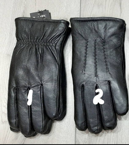 Кожа мужские перчатки, зима внутри мех, фото 2