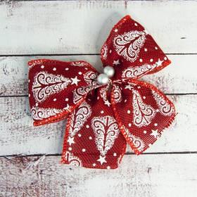 Бант рождественский красный (уп 5шт) 9238
