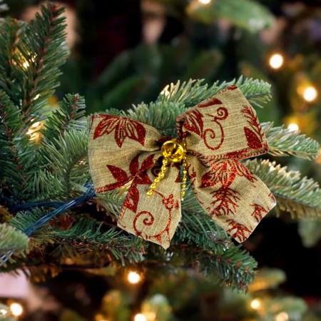 Бант рождественский льняной 9243