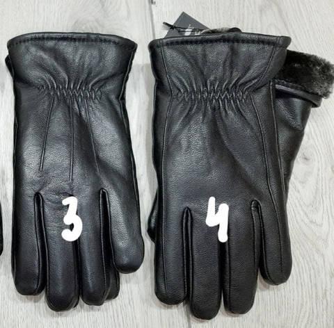 Кожа мужские перчатки зима мех, фото 2