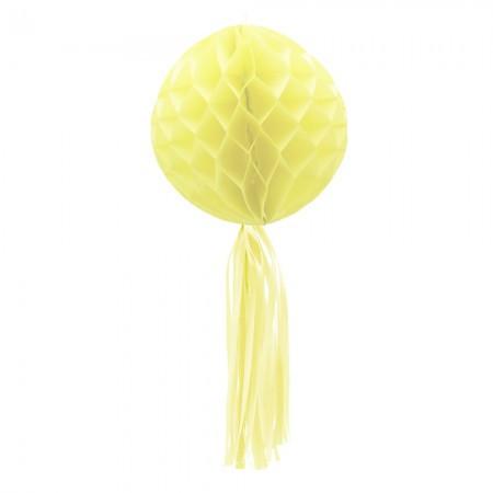 Бумажный шар соты с бахромой (30см) желтый
