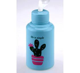 Бутылка Life is simple кактус голубая