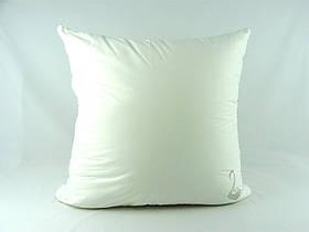 """Подушка VIVA """"Лебедь"""" 68х68, тик белый, вышивка, искусственный пух"""