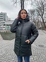 Зимняя женская куртка из эко кожи с капюшоном