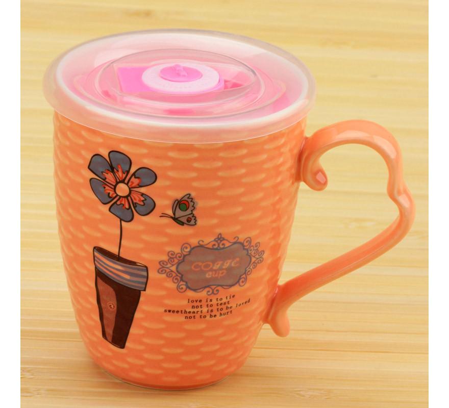 Чашка с цветком и термокрышкой оранжевая