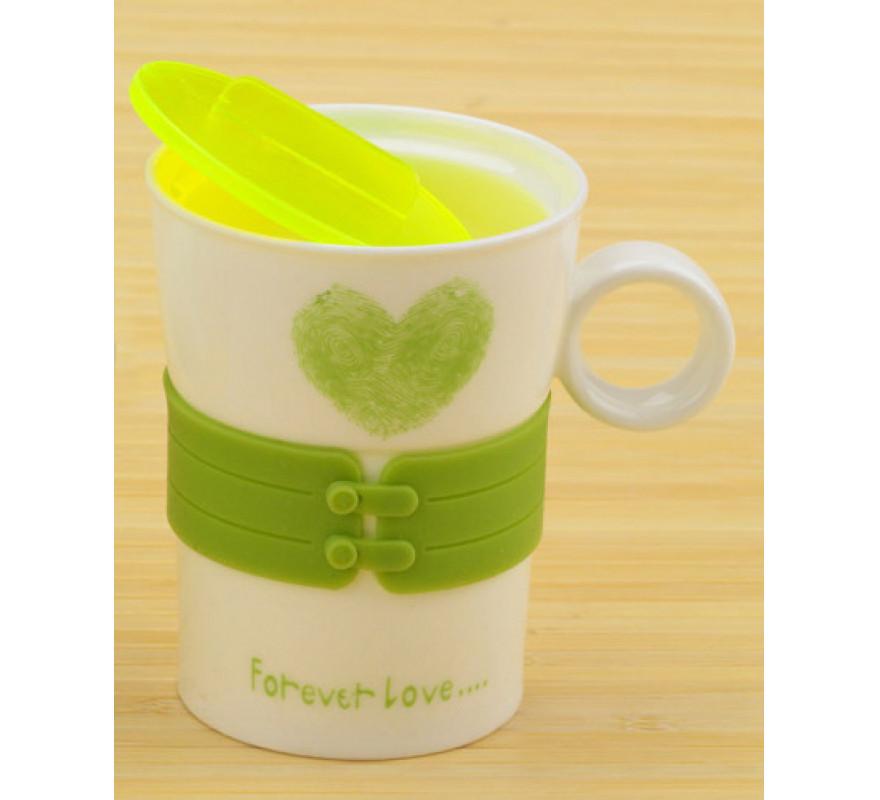 Чашка сердечко Forever Love зеленая
