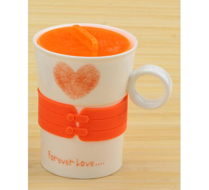 Чашка сердечко Forever Love оранжевая