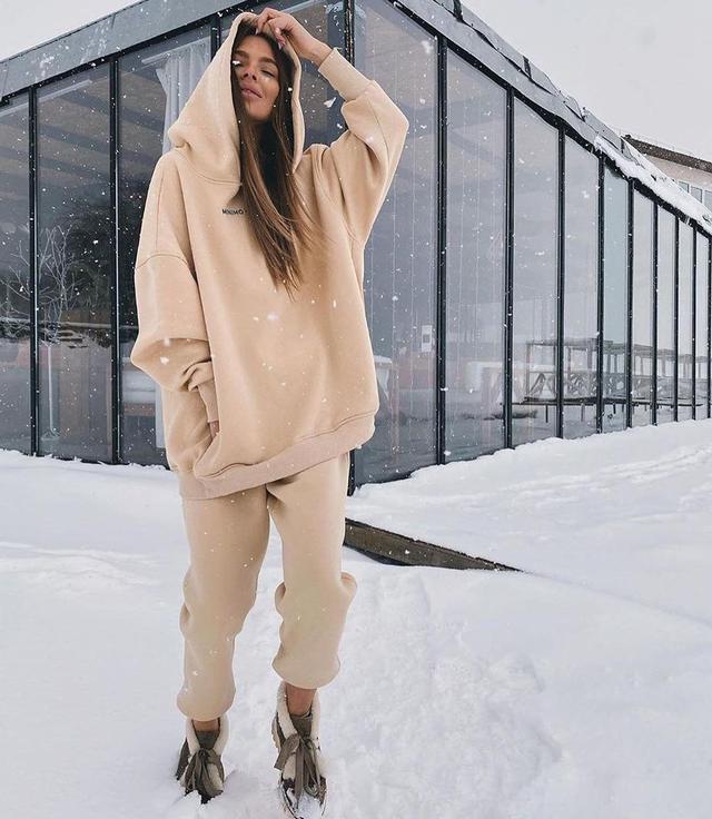 Женский спортивный теплый костюм удлиненный худи и штаны