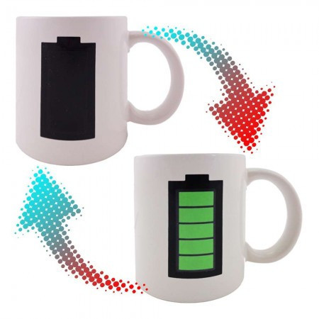 Чашка-хамелеон Батарейка (белая)