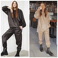Шикарный кожаный костюм Oversize, фото 1