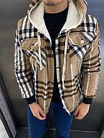 Теплая куртка рубашка в клетку Ламбо бежевая в полоску размер С