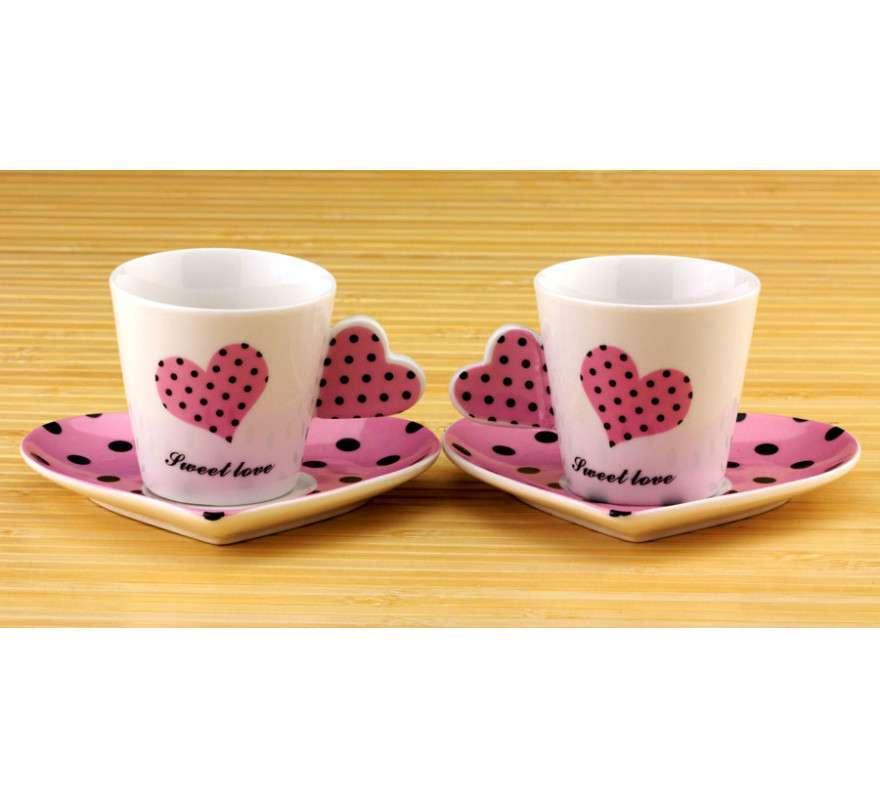 Чашки с блюдцем Сердечко - набор, розовые