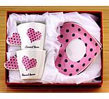 Чашки с блюдцем Сердечко - набор, розовые, фото 2