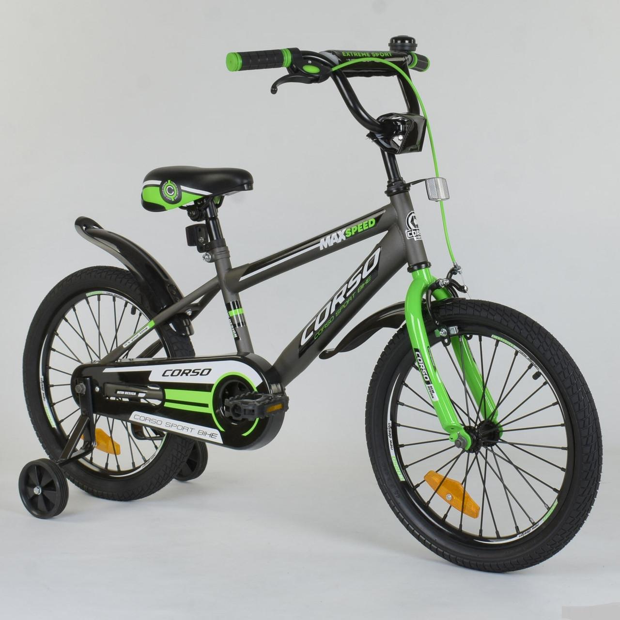 """Велосипед 18"""" дюймов 2-х колёсный """"CORSO"""" ST - 1015 СЕРЫЙ"""