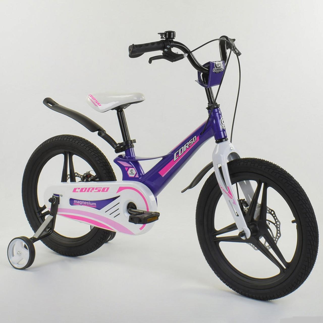 """Велосипед 18"""" дюймов 2-х колёсный """"CORSO"""" MG-56213 ФИОЛЕТОВЫЙ"""