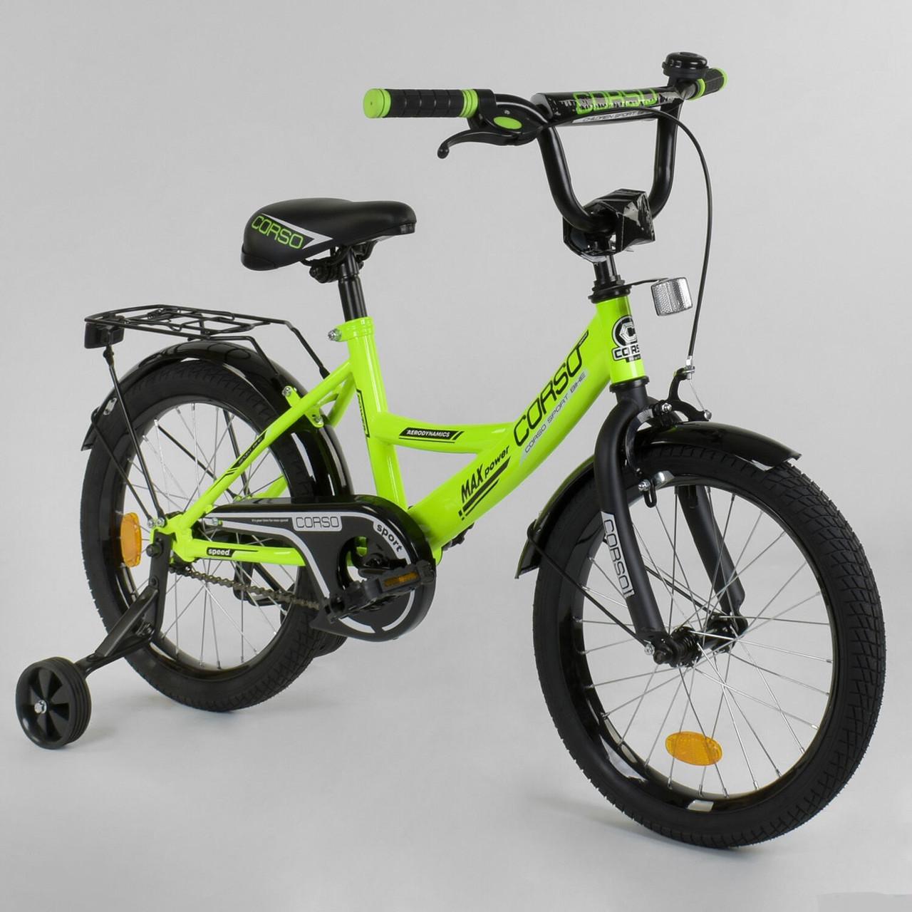 """Велосипед 18"""" дюймов 2-х колёсный """"CORSO"""" CL-18 R 8050 САЛАТОВЫЙ"""