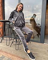 Жіночий велюровий спортивний костюм-двійка з капюшоном, фото 1