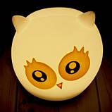 Силиконовый сенсорный ночник LED Сова милая, фото 2