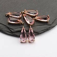 Подвеска для украшений, капля маленькая 1,8см*0,6см, контур - метал. цвет камня розовый.