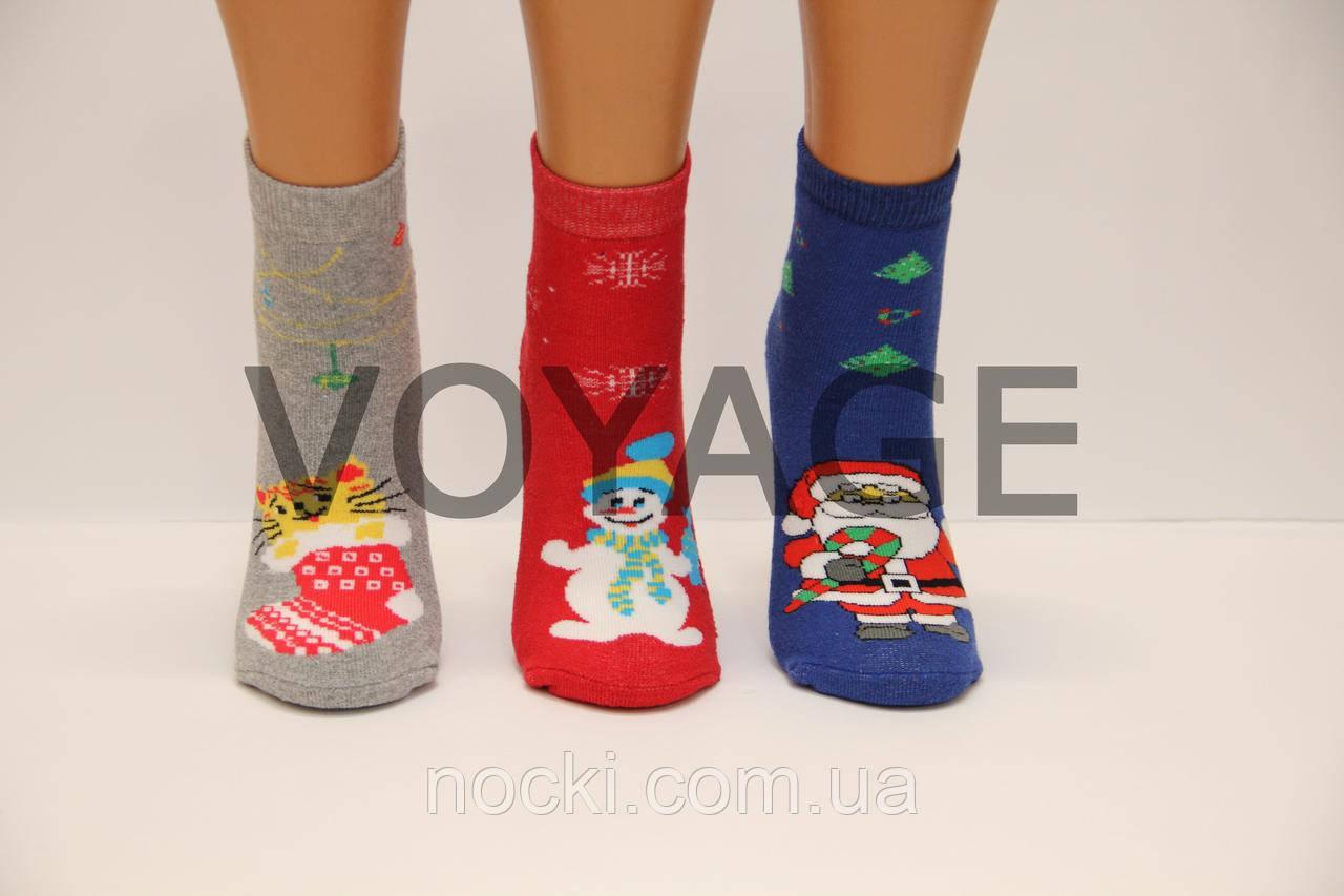 Детские носки махровые новогодние для малышей п/э ТР  18-20  дед мороз,кот,снеговик
