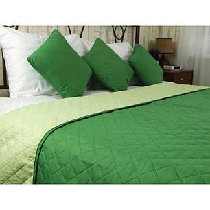 Покрывало на кровать, диван Руно Зеленое 150х212 двустороннее полуторное, фото 2