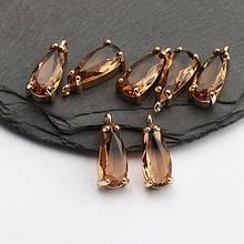 Подвеска для украшений, капля маленькая 1,8см*0,6см, контур - метал. цвет камня светло коричневый.