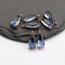 Подвеска для украшений, капля маленькая 1,8см*0,6см, контур - метал. цвет камня голубой.