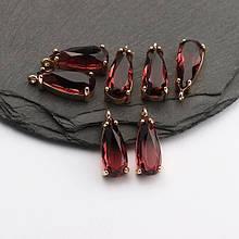 Подвеска для украшений, капля маленькая 1,8см*0,6см, контур - метал. цвет камня бордовый.