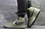 Зимние мужские кроссовки Nike Lunar Force 1 Duckboot темно-зеленые, фото 4