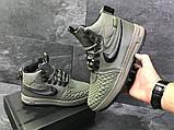 Зимние мужские кроссовки Nike Lunar Force 1 Duckboot темно-зеленые, фото 6