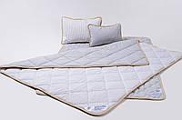 Комплект із вовни мериносів сірий у смужку двохспальний (Ковдра 180х200 + Подушки 40х60 2шт.), фото 1