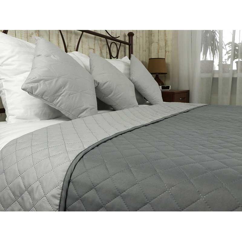 Покрывало на кровать, диван Руно Темно серое 212х240 двустороннее евро