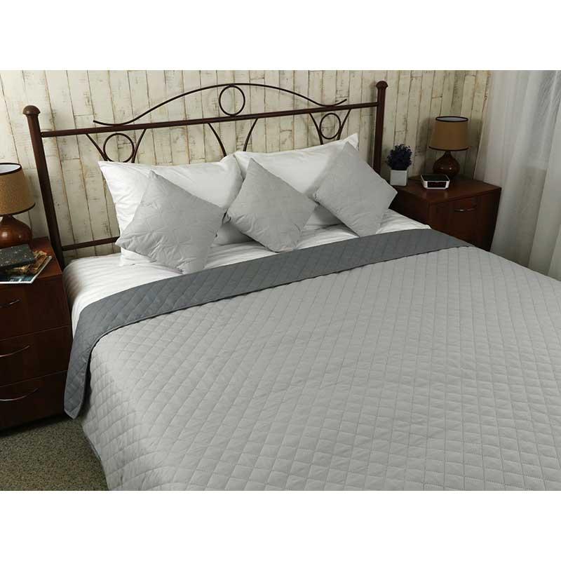 Покрывало на кровать, диван Руно Серое 212х240 двустороннее евро