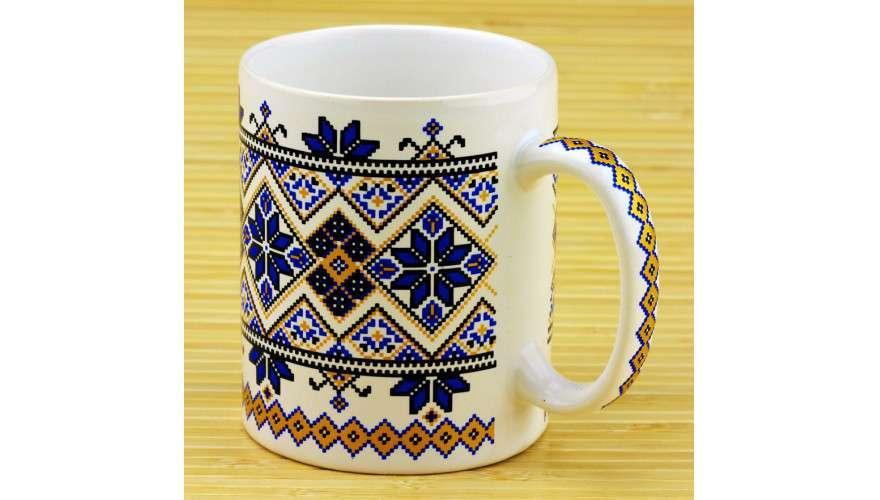 Чашка вышиванка белая/синяя