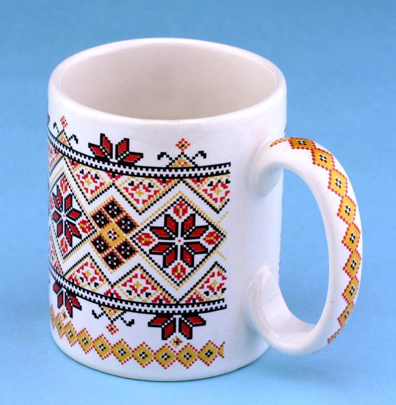 Чашка кофейная вышиванка белая/красная