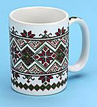 Чашка кофейная вышиванка белая/красная, фото 3