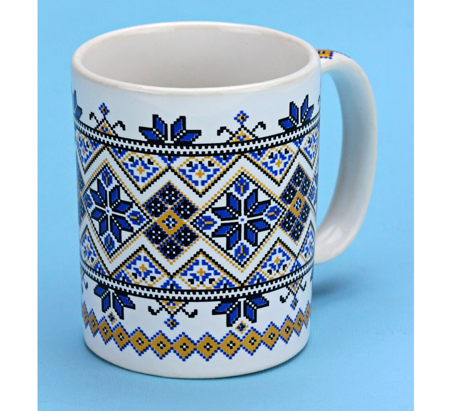 Чашка кофейная вышиванка белая/синяя