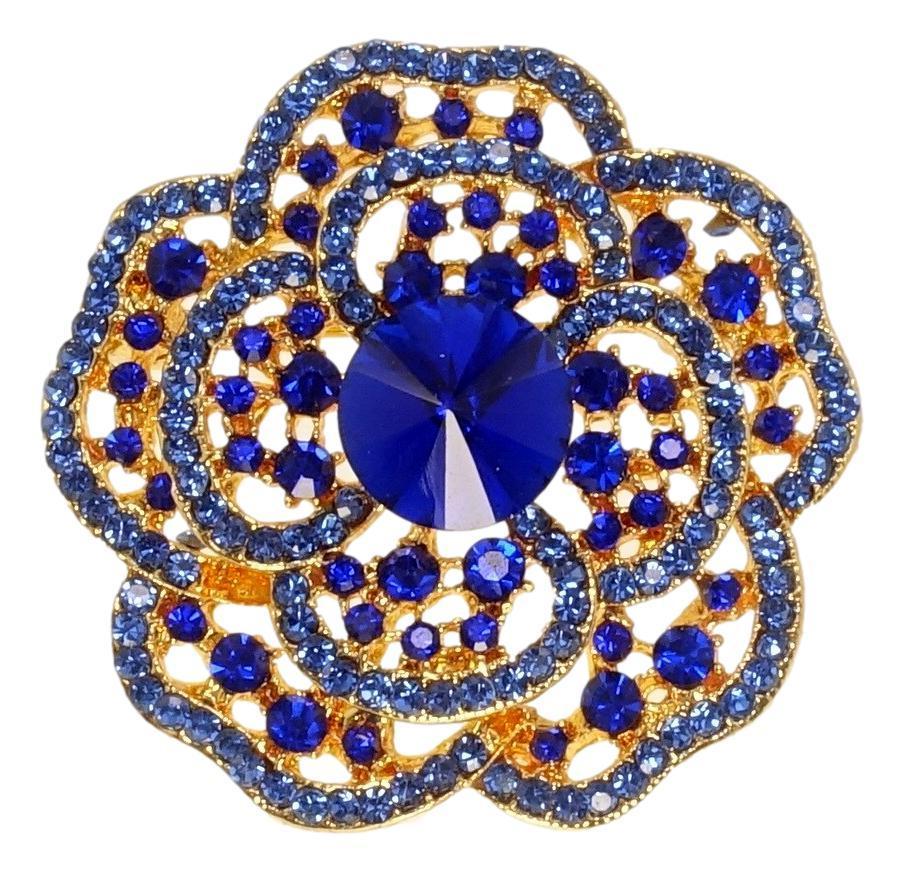 """Брошь """"Цветок с синими стразами"""""""