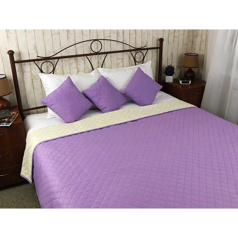 Покрывало на кровать, диван Руно Сиреневое 212х240 двустороннее евро