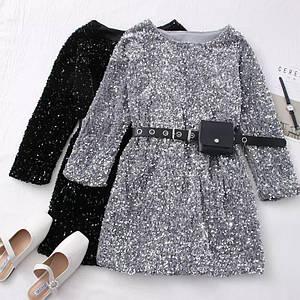 Нарядное платье расшитое пайетками со съемным кошельком 42-46 р