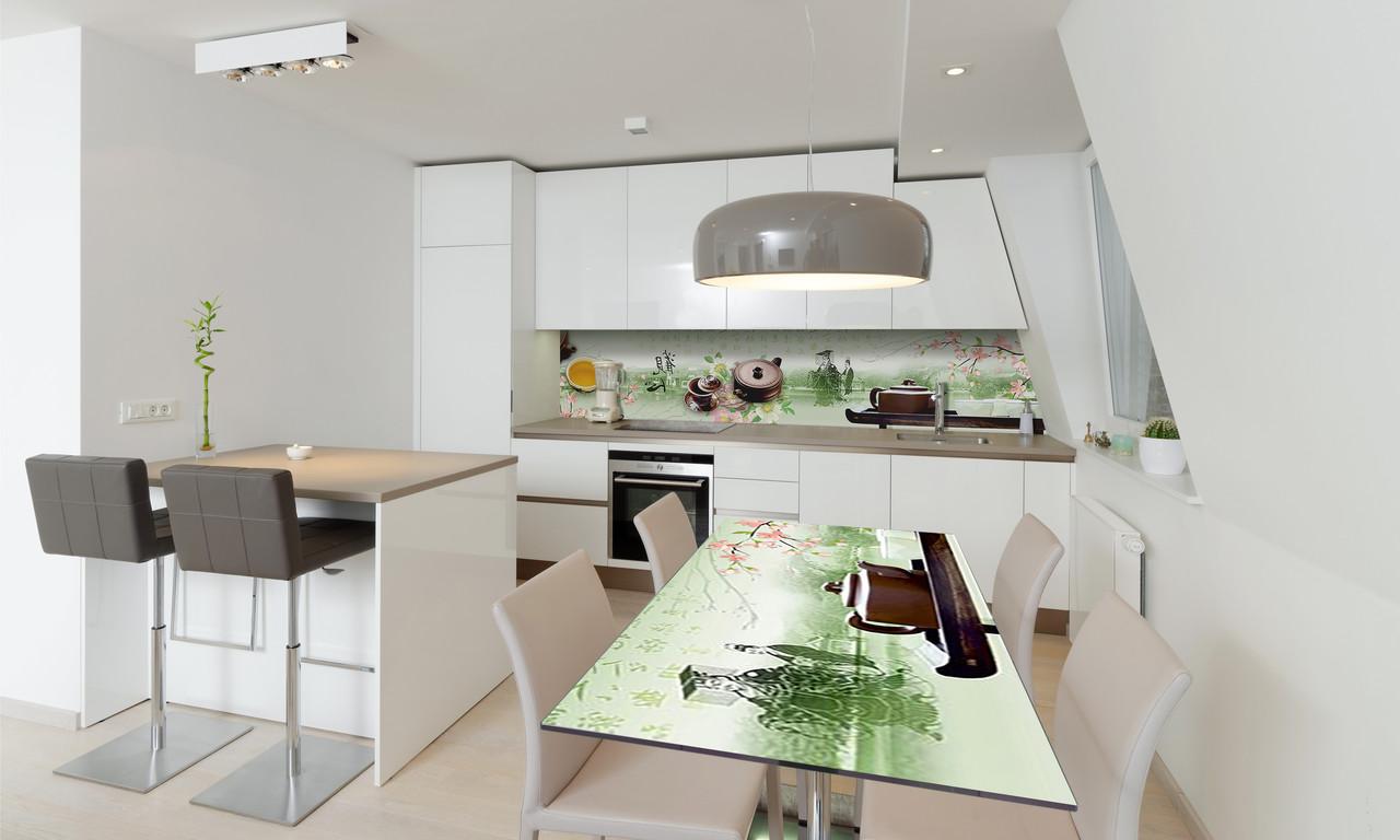 Наклейка 3Д виниловая на стол Zatarga «Чай и Сакура» 600х1200 мм для домов, квартир, столов, кофейн,