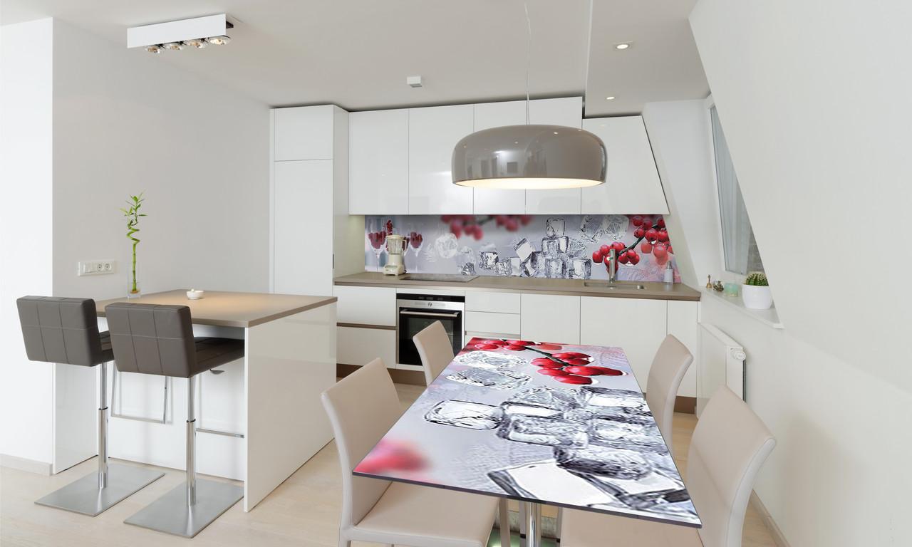 Наклейка 3Д виниловая на стол Zatarga «Красные Ягоды Лед» 650х1200 мм для домов, квартир, столов,